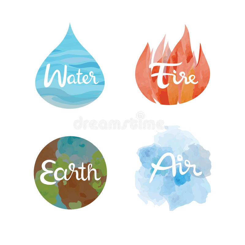 Set of the four nature elements icons. Water, fire, earth, air symbols vector illustration