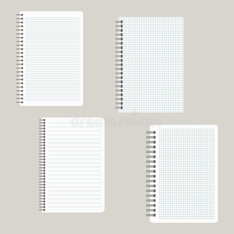 Set of four notepads with a binding from left side vector illustration