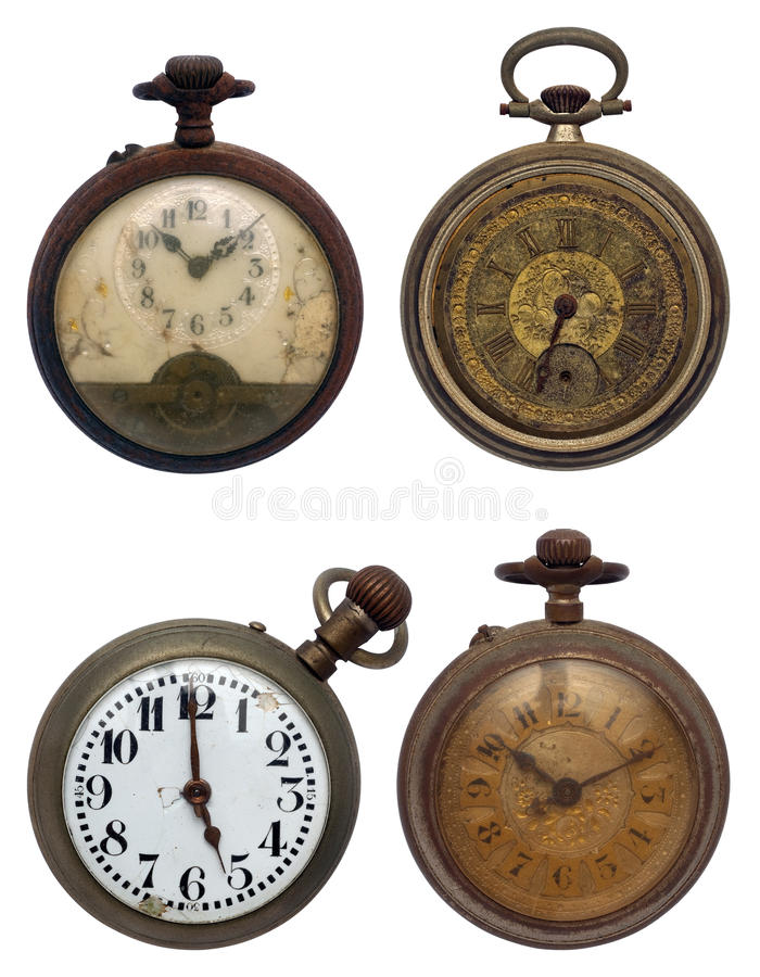Set of four old pocket watches, isolated with clip