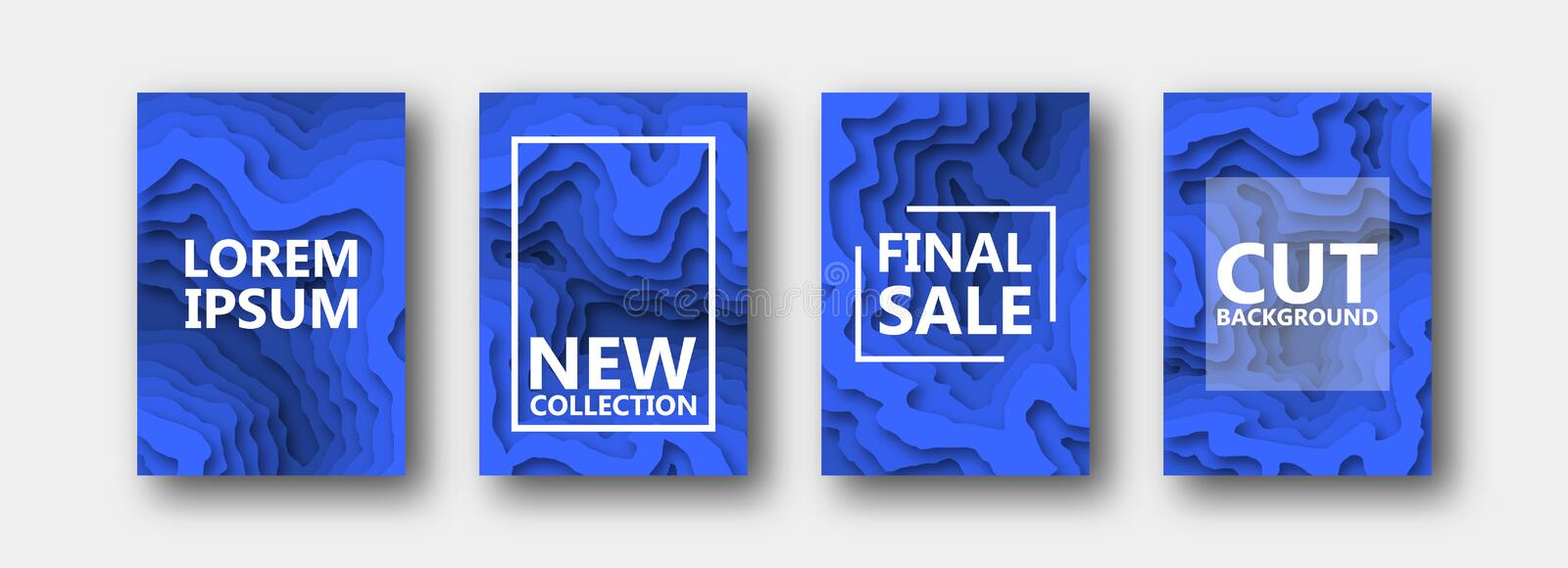 A set of four options for banners, flyers, brochures, cards, posters for your design, in blue color. stock illustration