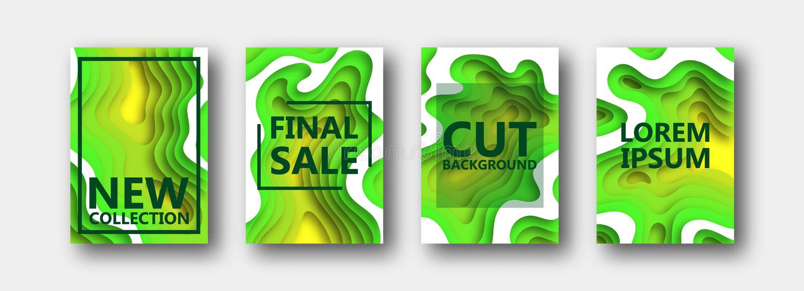A set of four options for banners, flyers, brochures, cards, posters for your design, in green-yellow tones. vector illustration