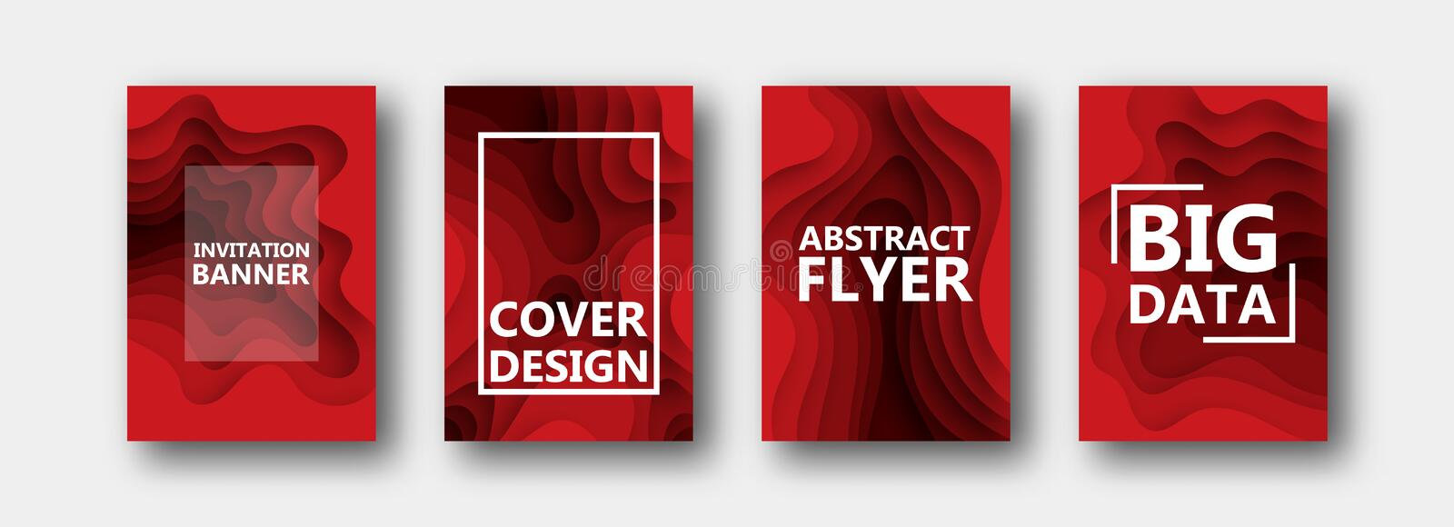 A set of four options for banners, flyers, brochures, cards, posters for your design, in red colors. royalty free illustration