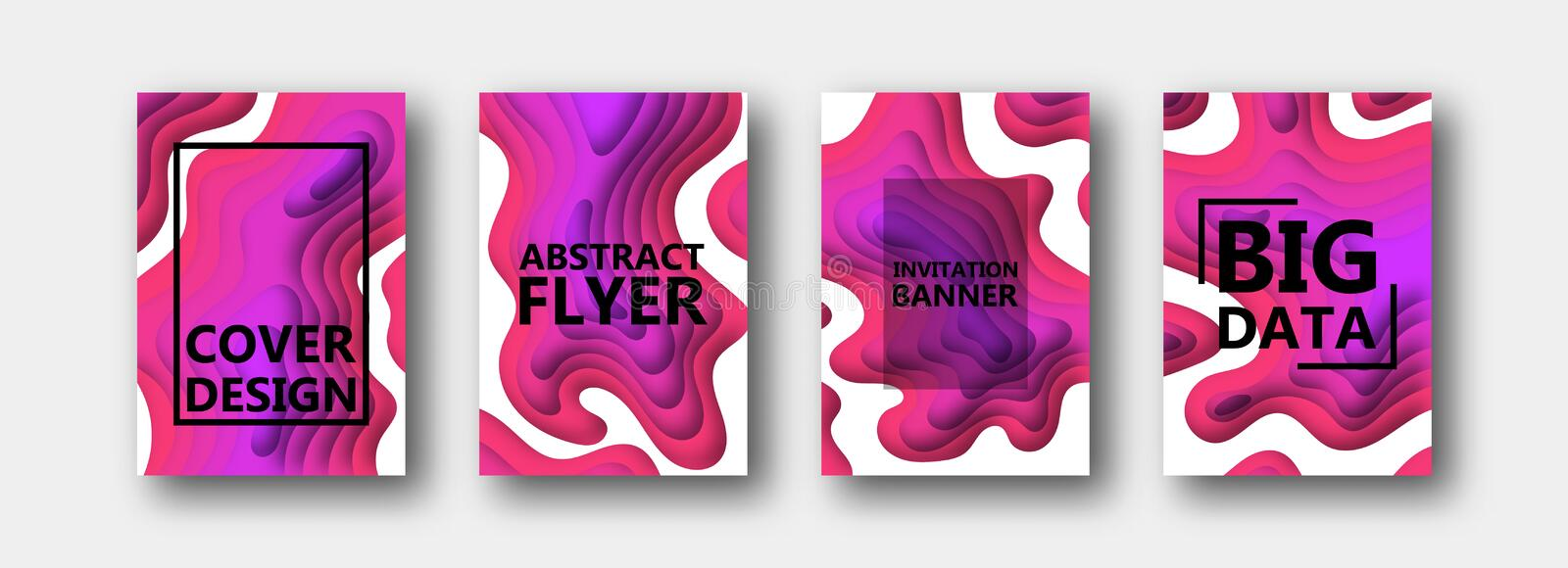 A set of four options for banners, flyers, brochures, cards, posters for your design, in red, purple, pink, lilac tones royalty free illustration