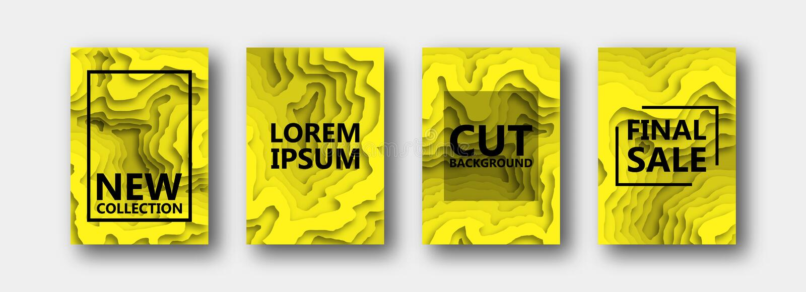 A set of four options for banners, flyers, brochures, cards, posters for your design, in yellow color. royalty free illustration