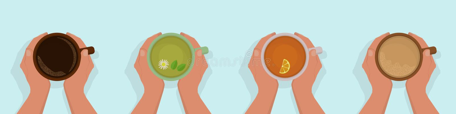 Set of four options logo women`s hands holding a cup royalty free stock photos