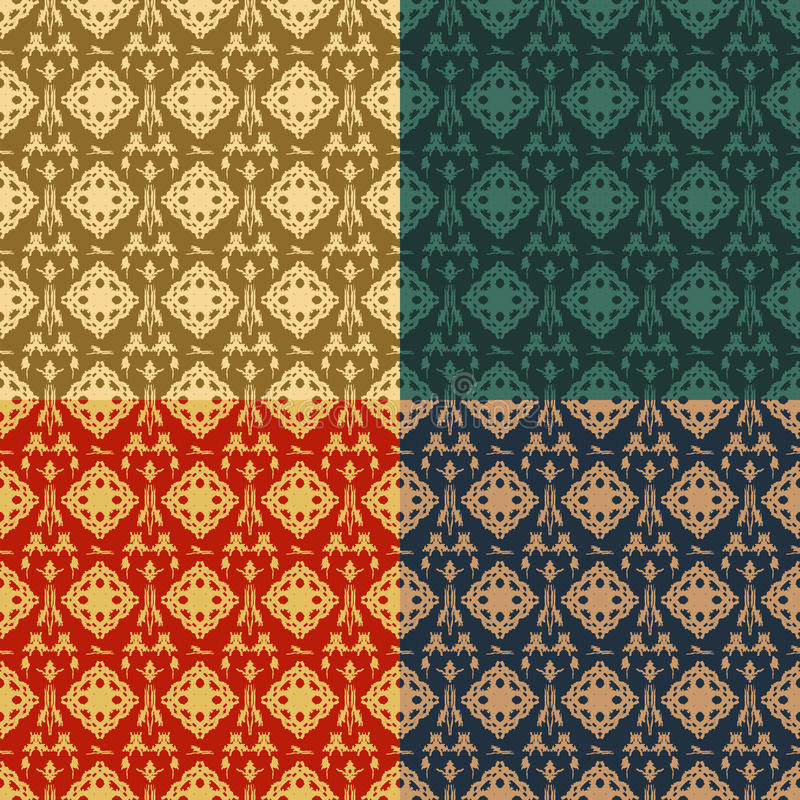 Set of four ornamental seamless pattern. Indian, Arabic, Islam motifs.Vintage design elements.Seamless pattern can be used for pattern fills, cards, invitations royalty free illustration