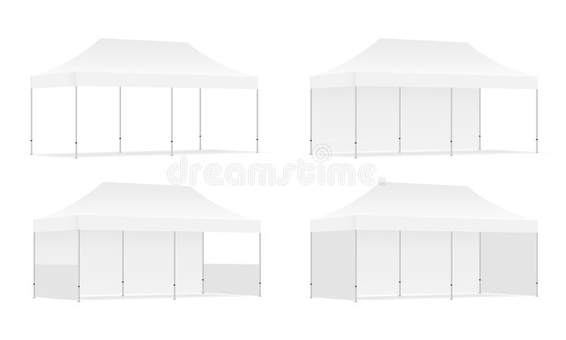 Set of four outdoor promotional rectangular tents with side views vector illustration