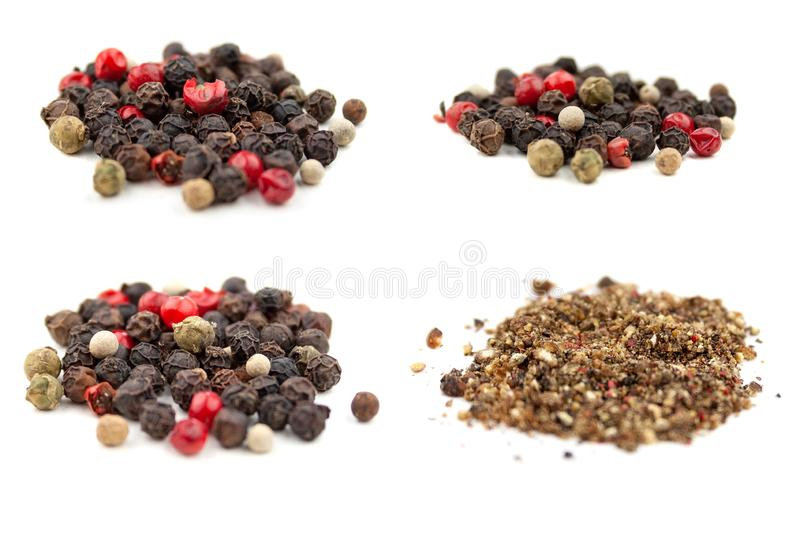 Set of four photos of a mix of four types of grain and ground pepper: black, white, pink, green. Isolated on white background stock photo