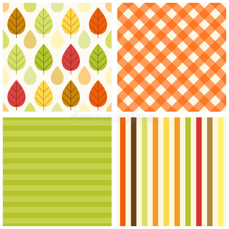 Set of four primitive retro seamless patterns with leaves and rain drops, gingham and striped royalty free illustration