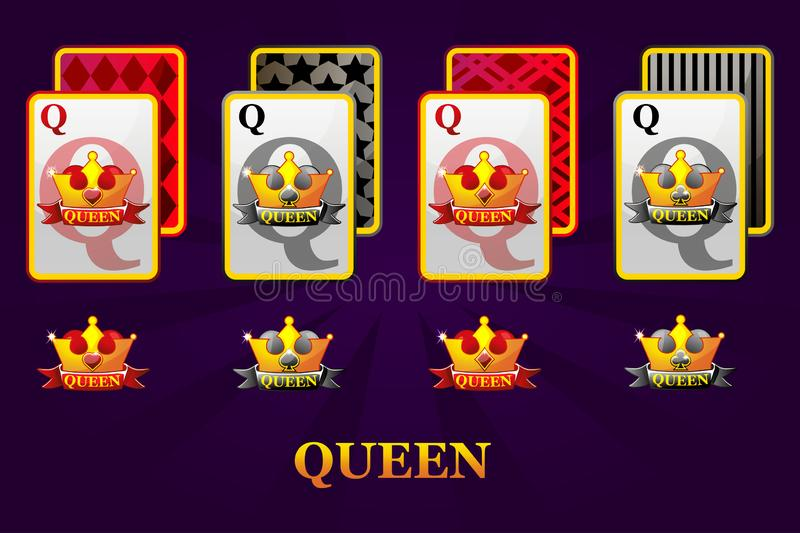 Set of four Queens playing cards suits for poker and casino. Set of hearts, spades, clubs and diamonds Queen. royalty free illustration