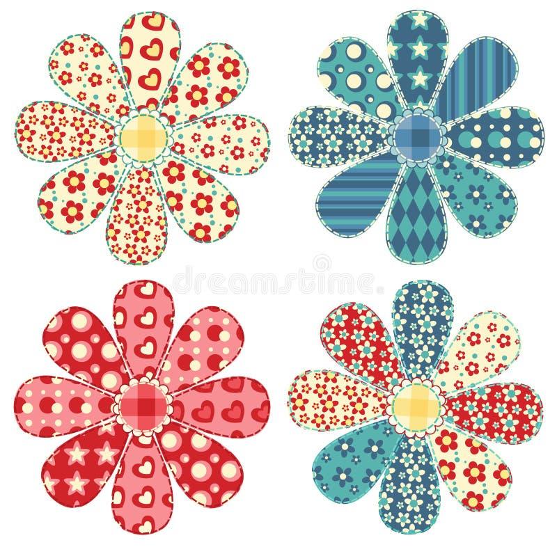 Set of four quilt flower. Patchwork series royalty free illustration