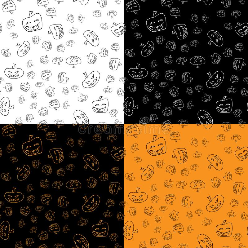 Set of four random seamless patterns. Halloween pumpkin. Halloween pumpkin seamless outline in a hand-drawn style. October harvest. Background. Vector freehand stock photography