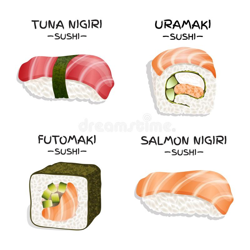 Set of four realistic sushi vector illustration