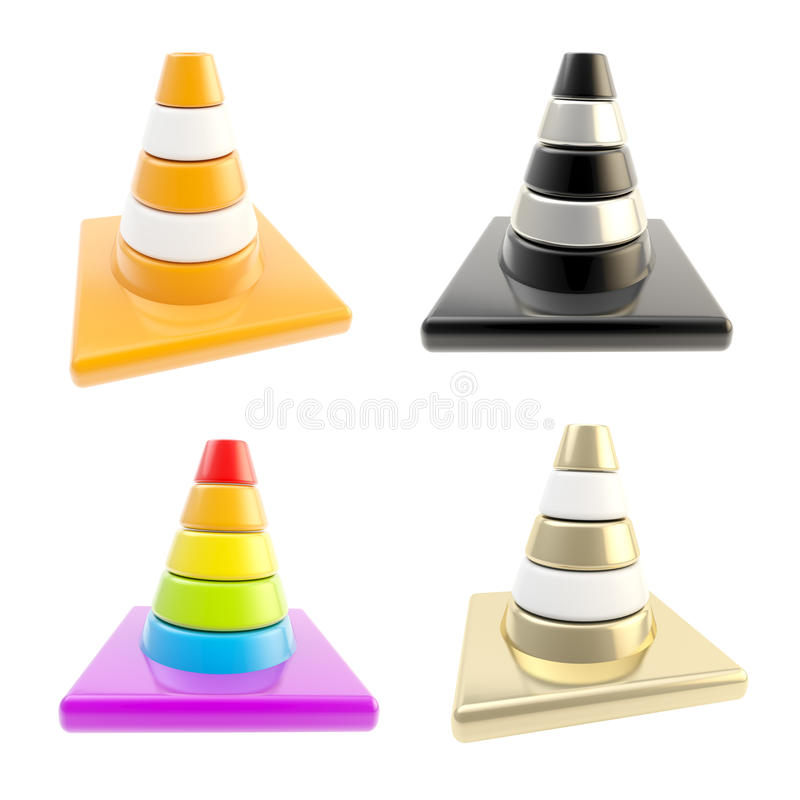 Set of four road cones isolated on white stock illustration