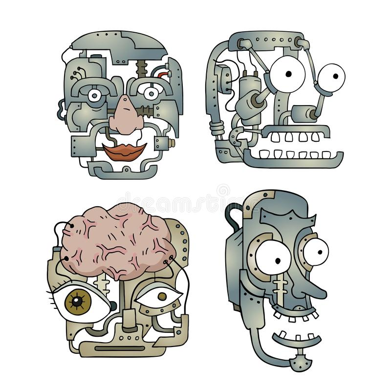 Set of four robot heads stock illustration