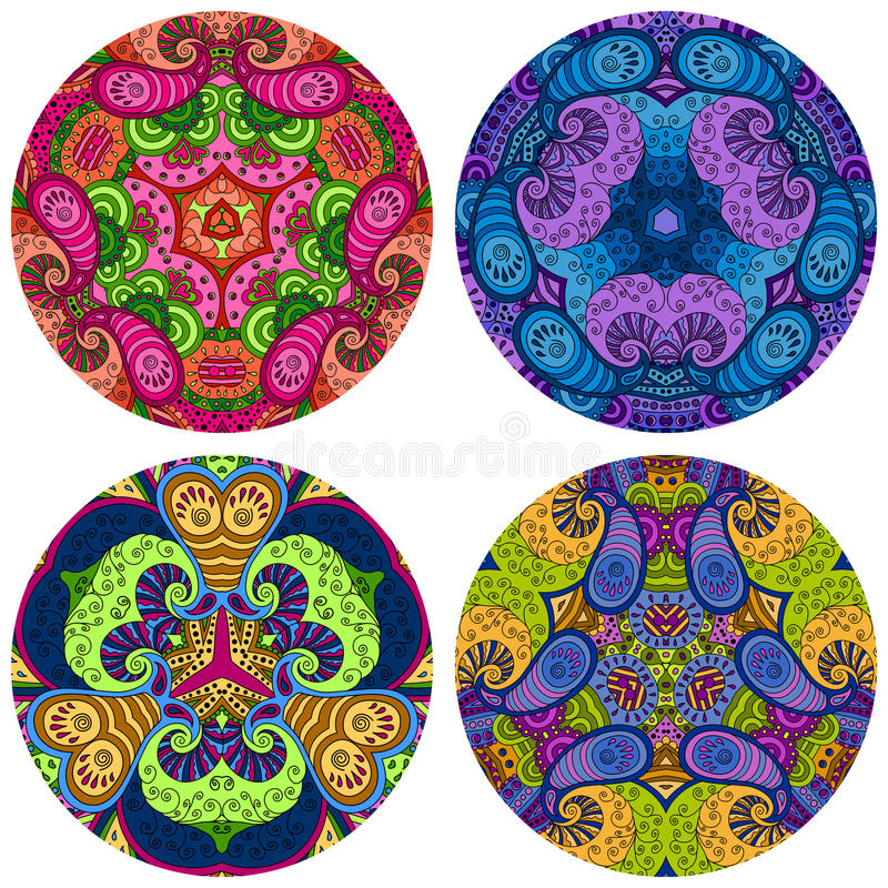 Set of four round colorful mandalas on a white background. stock illustration