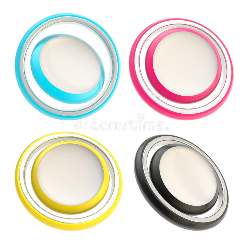 Set of four round copyspace circle buttons vector illustration