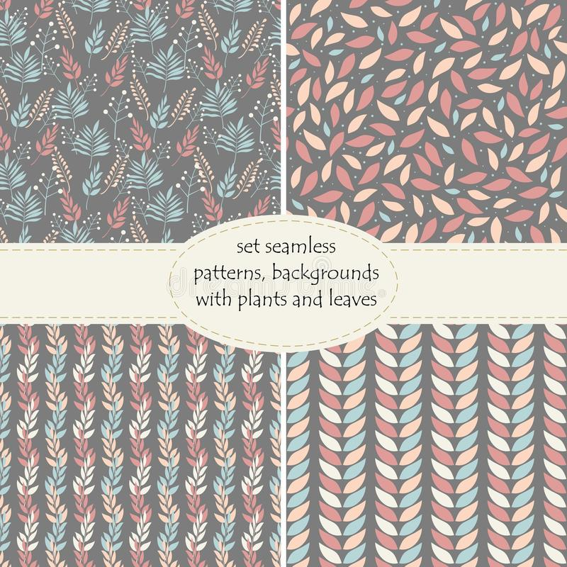 Set of four seamless backgrounds, patterns of plants, leaves and branches of leaves in pastel colors on a graphite background . royalty free illustration