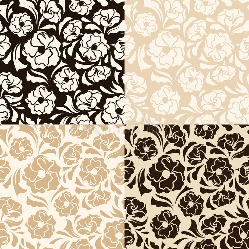 Set of four seamless beige and brown floral patterns. Vector illustration. stock illustration