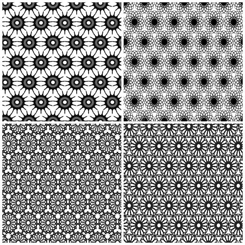 Four Seamless Pattern With Hands And Feet Imprints Stock