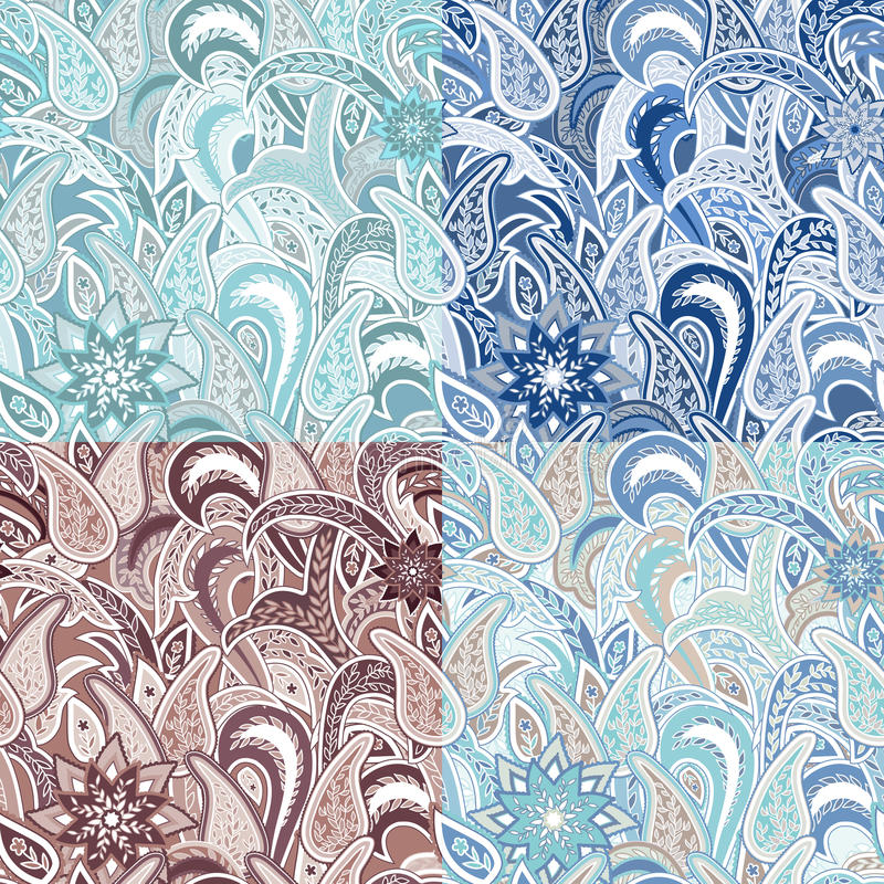 Set of Four Seamless Pattern with Paisley. stock illustration