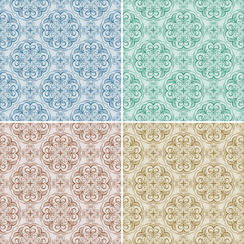 Download Set With Four Seamless Patterns Stock Vector - Image: 23753561