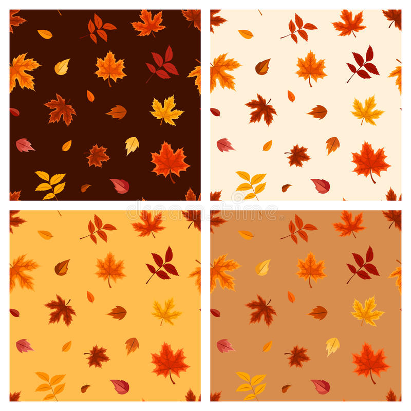Set of four seamless patterns with autumn leaves. Vector illustration. royalty free illustration