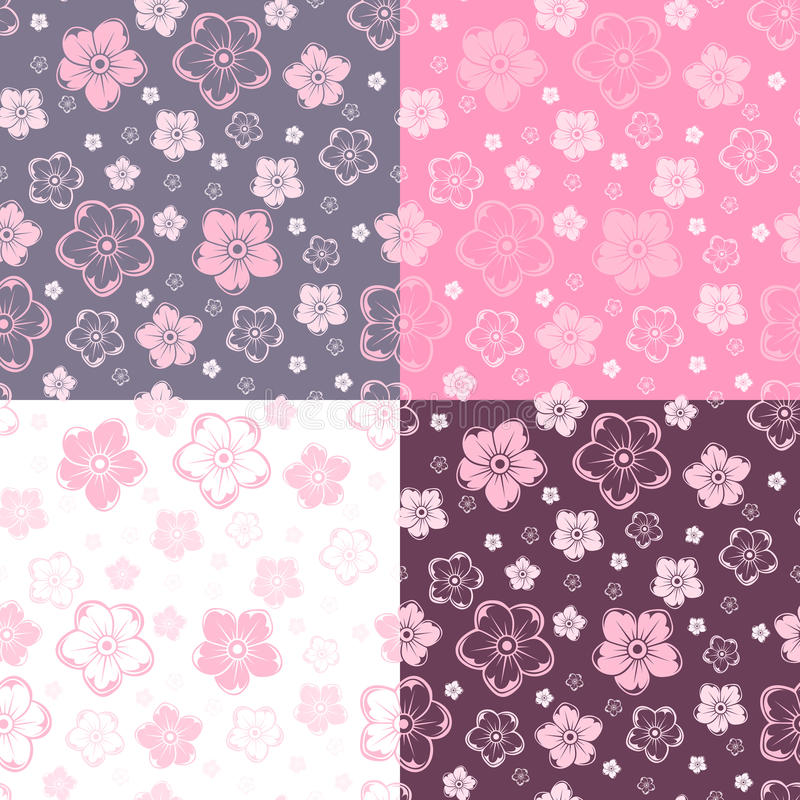 Set of four seamless patterns with flowers. Vector vector illustration