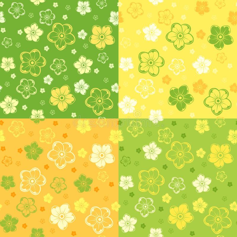Set of four seamless patterns with flowers. vector illustration