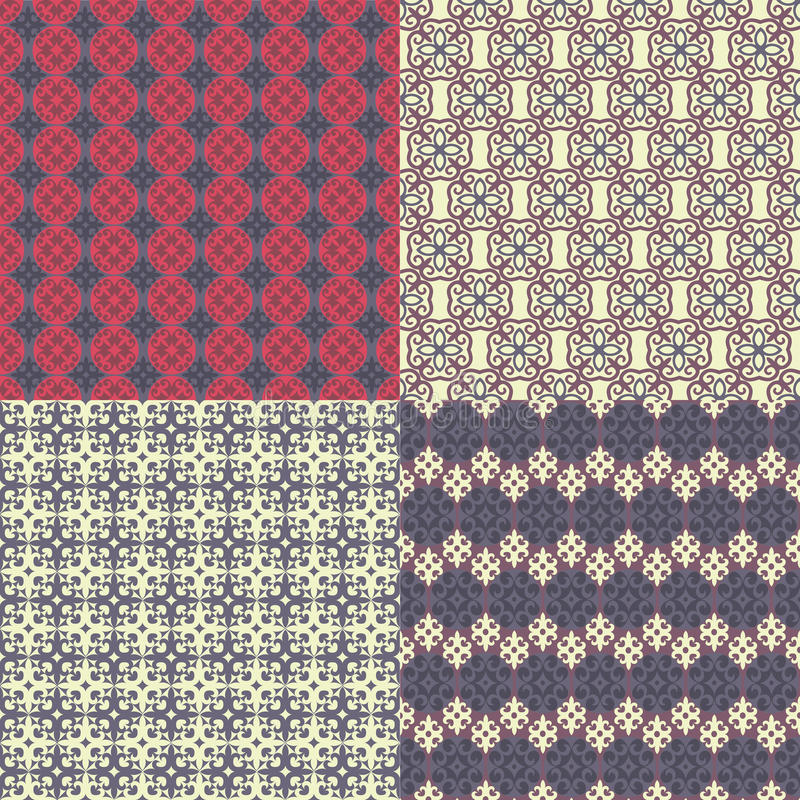 Set of four seamless patterns. Kazakh, Asian, floral, floral pat stock illustration