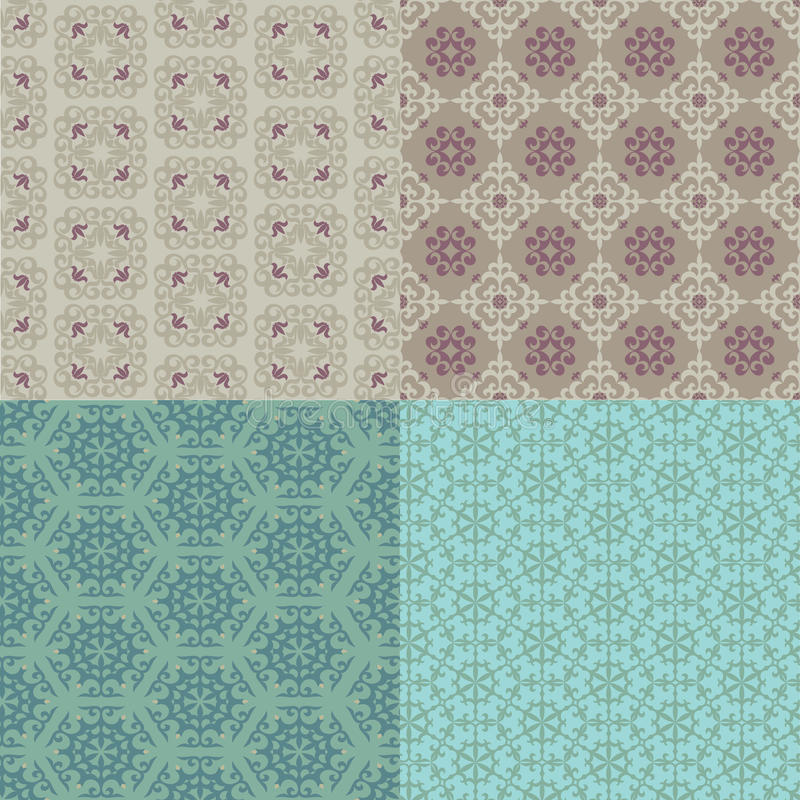 Set of four seamless patterns. Kazakh, Asian, floral, floral pat royalty free illustration