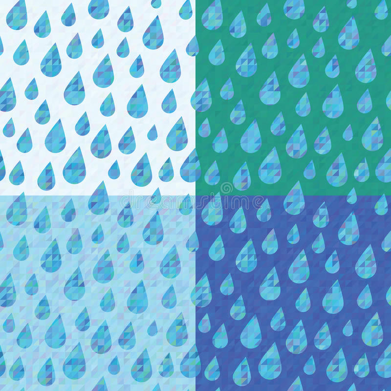 Set Of Four Seamless Patterns With Rain Drops Stock Vector
