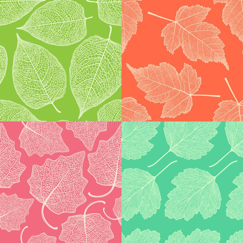 Set of four seamless patterns with skeleton leaves. royalty free illustration