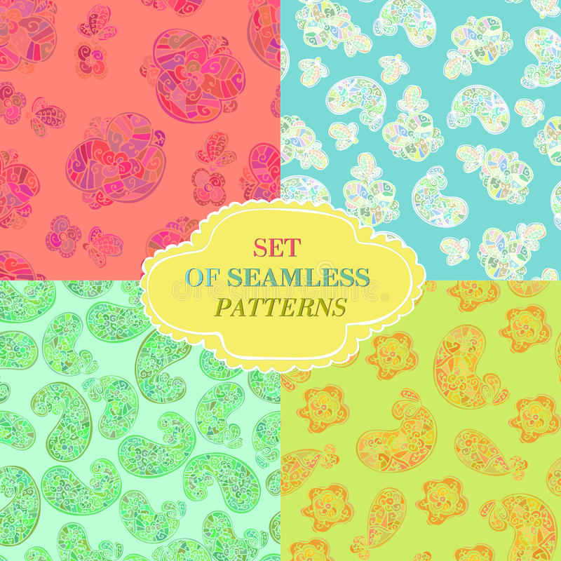 Set of four seamless patterns stock illustration