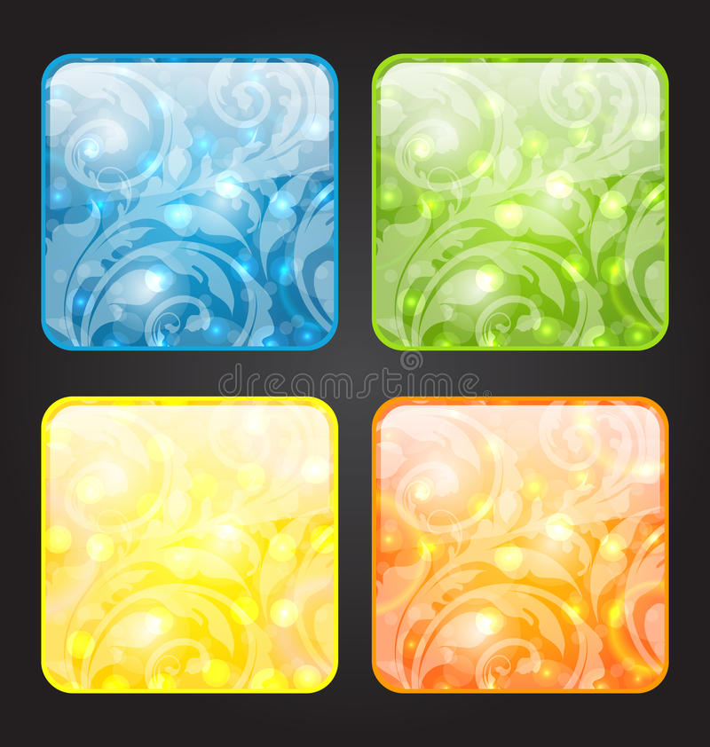Download Set Four Seasonal Icon With Floral Colorful Backgr Stock Vector - Illustration of nature, composition: 31418375