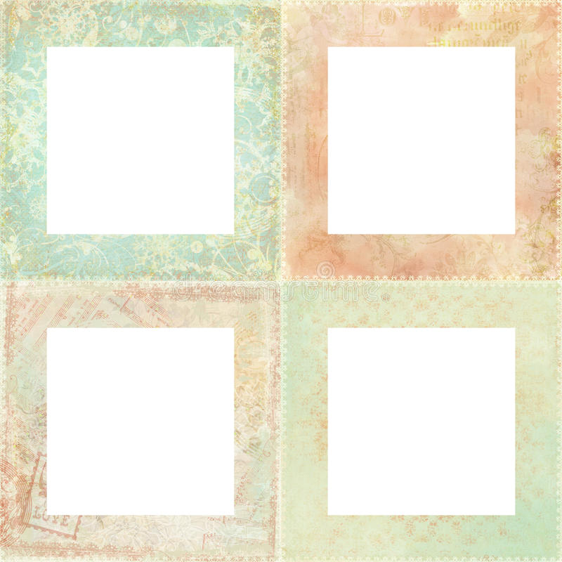 Download Set Of Four Shabby Floral Frames Stock Illustration - Image: 10214298