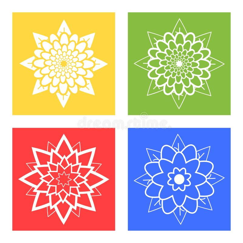 Set of four silhouettes of flowers blue, green, yellow, red stock illustration