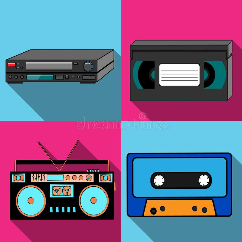 A set of four simple flat style icons with a long shadow from old retro vintage hipster antique electronics, tape recorder, audio vector illustration