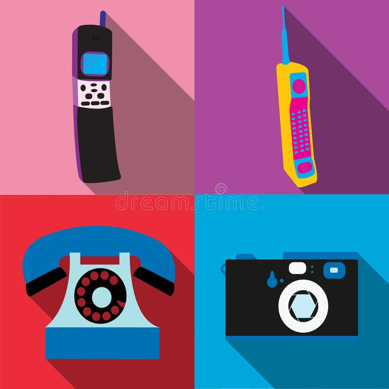 A set of four simple flat style icons with a long shadow of old retro vintage hipster antique electronics, cellular mobile button royalty free illustration