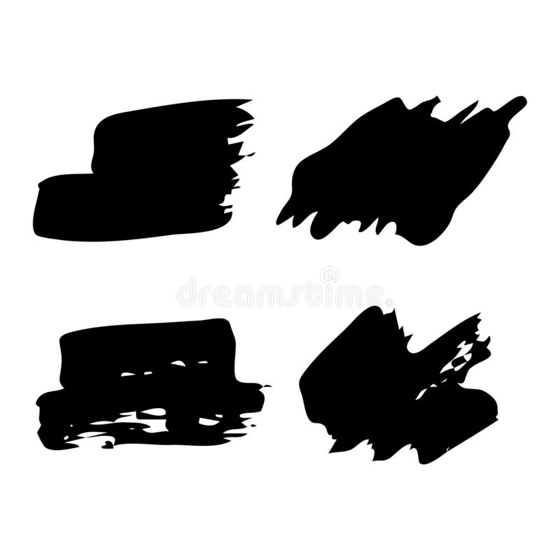 Hand drawn Paint Scribble Stains. Set of four Sketch Scribble Smears. Hand drawn Paint Scribble Stains. Vector illustration vector illustration