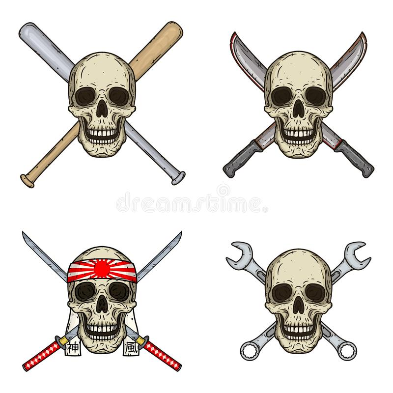 Set of four skulls with different objects. Skull with bats, wrenches, swords and machetes isolated on white background. stock illustration