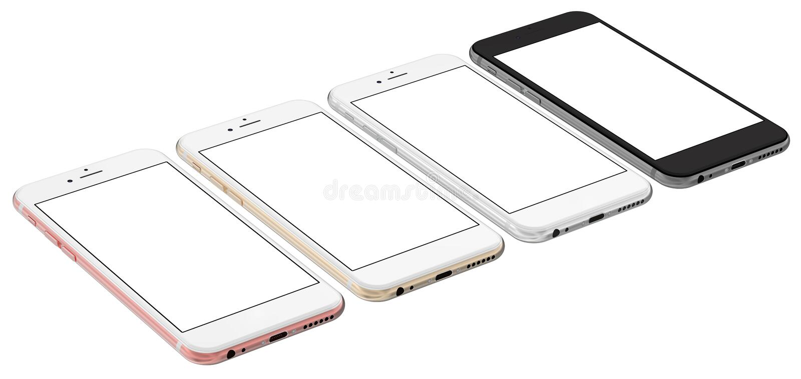 Set of four smartphones gold, rose, silver and black with blank screen. Real camera. stock illustration