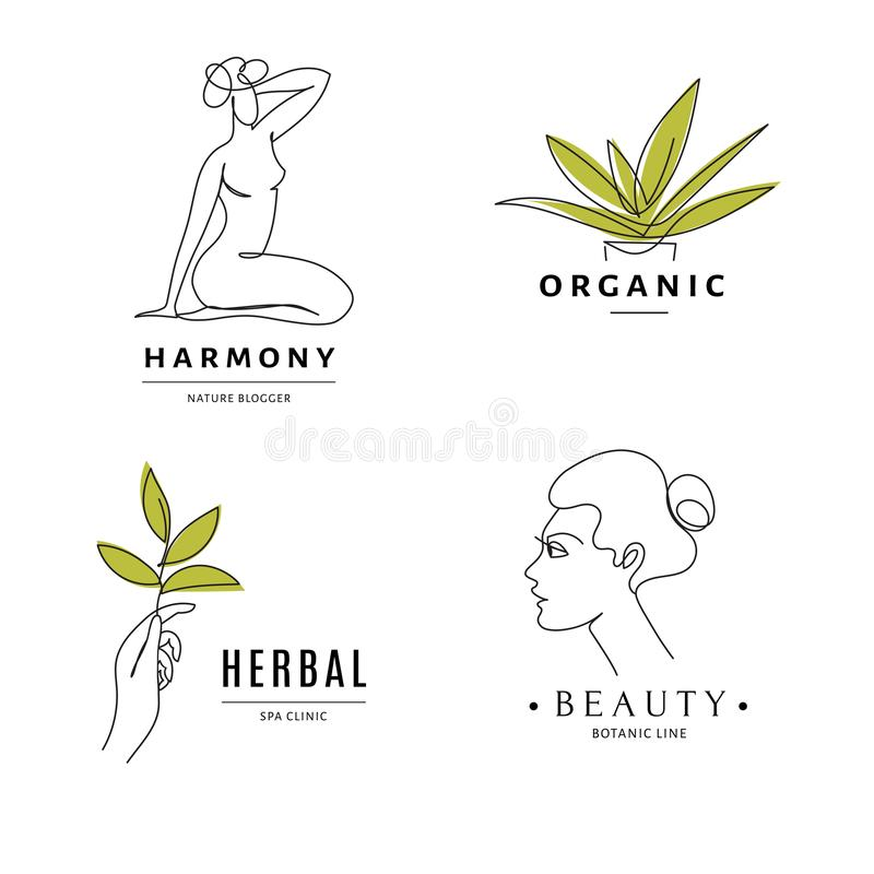Spa Herbal Salon Logo Templates With Body And Nature Line Art Stock Vector Illustration Of Fashion Cosmetology 155899300