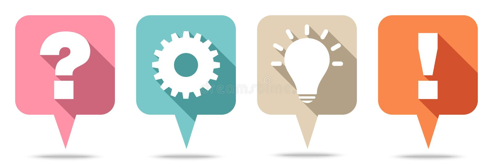 Set Of Four Speechbubbles Question Work Idea And Answer Retro Color royalty free illustration