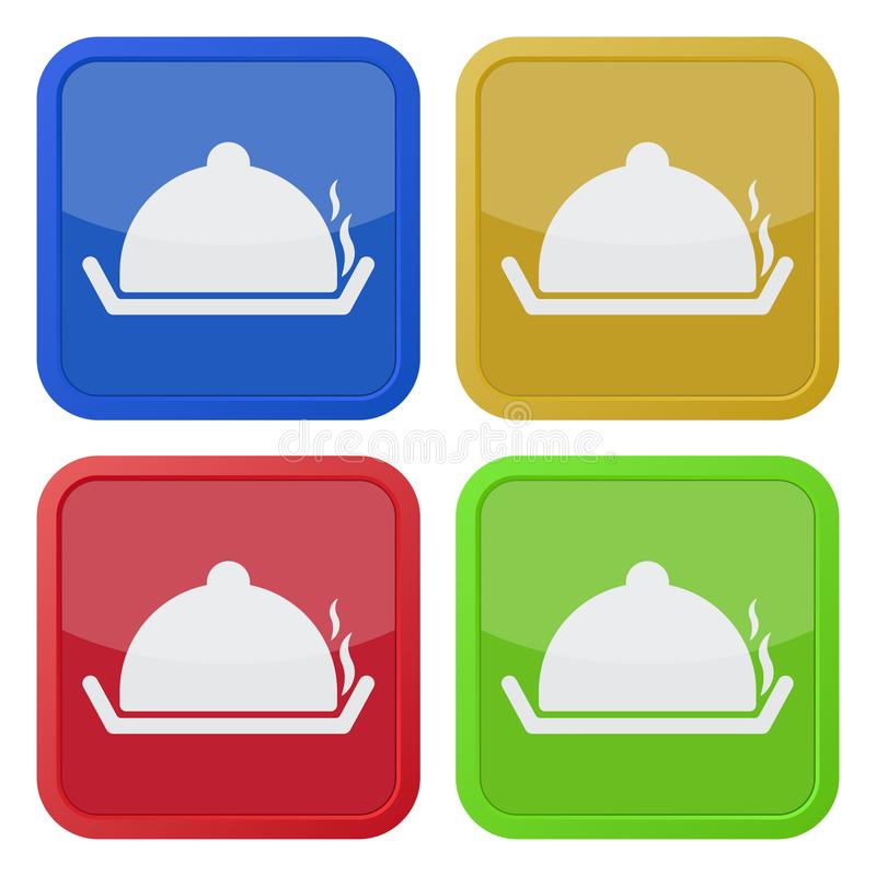 Four square color icons, serving tray with lid stock illustration