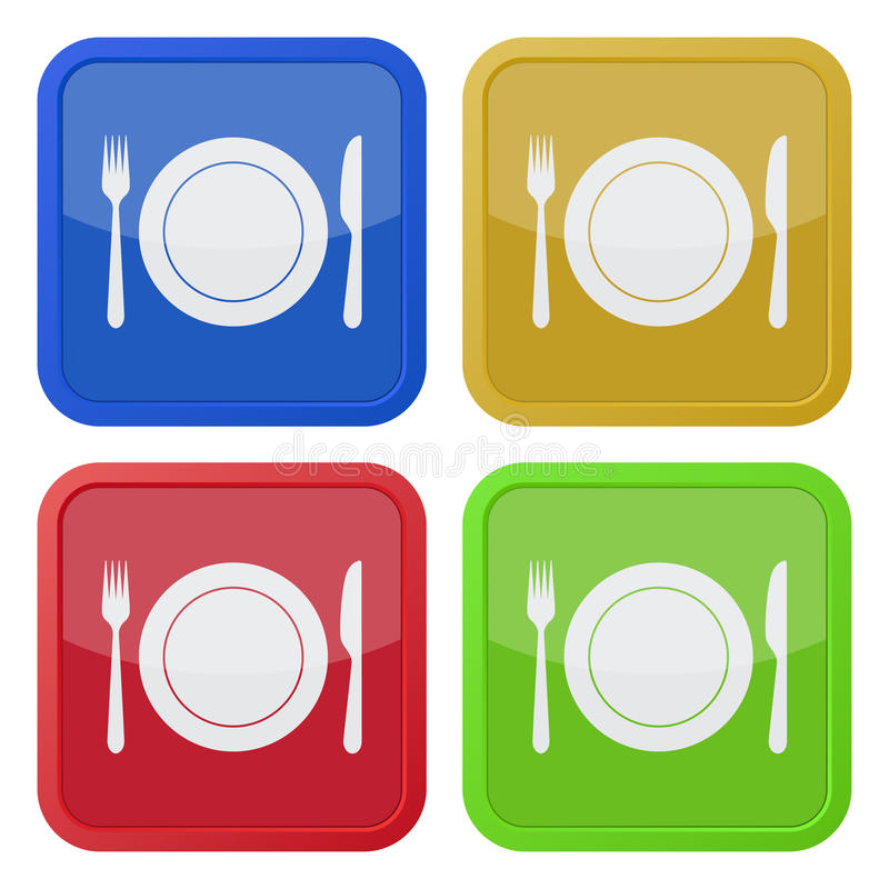 Set of four square icons - cutlery and plate. Set of four colored square icons - cutlery, fork and knife with plate royalty free illustration