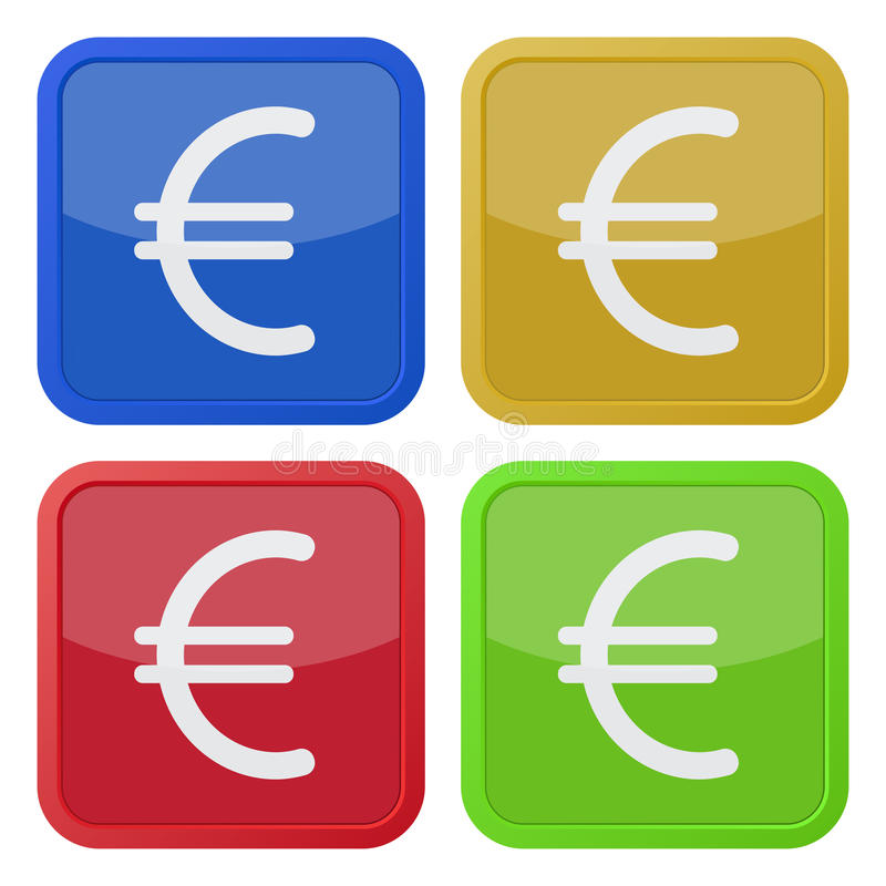 Set Of Four Square Icons With Euro Currency Symbol Stock Vector