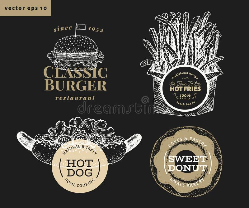 Set of four street food logo templates. Hand drawn vector fast food illustrations on chalk board. Hot dog, burger, french fries, vector illustration