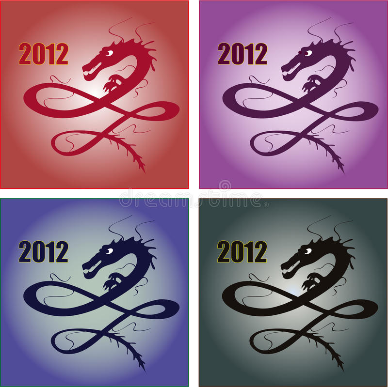 Set Of Four Stylish Dragons For 2012 Stock Photography