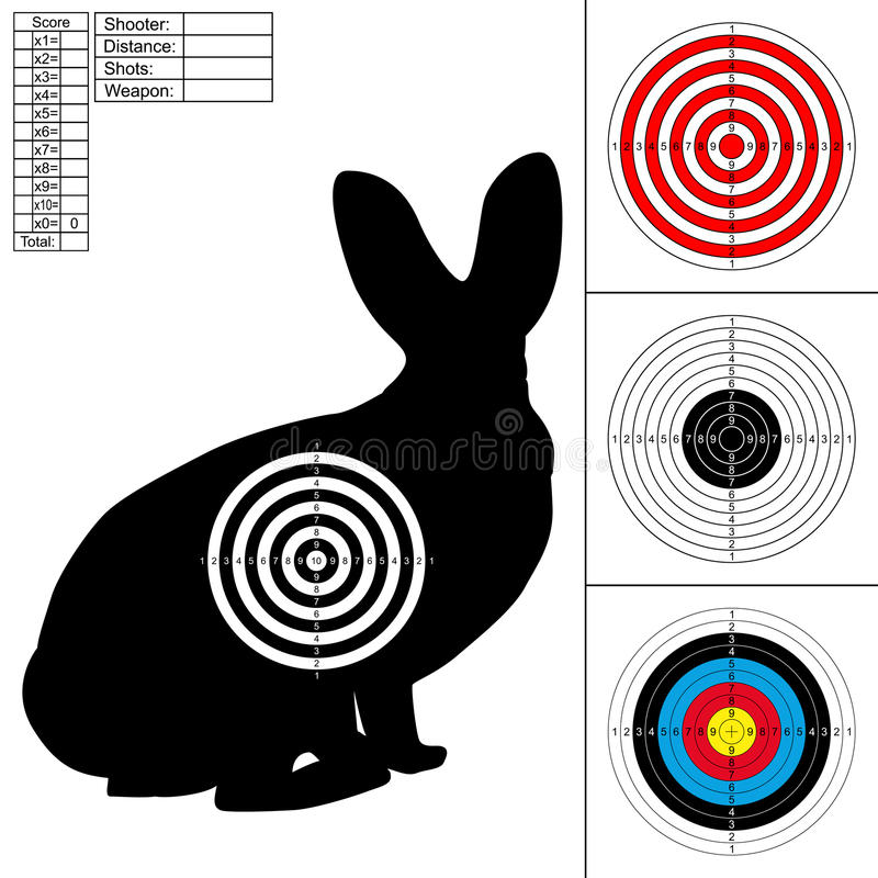 Set of four targets for printing. stock illustration